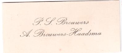 HAADSMA BESITEKAARTSJE P.S. BROUWERS