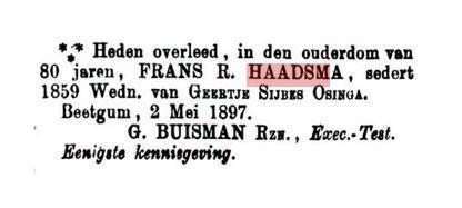 HAADSMA FRANS EKSEKUTEUR