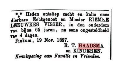 HAADSMA RIEMKE VISSER +