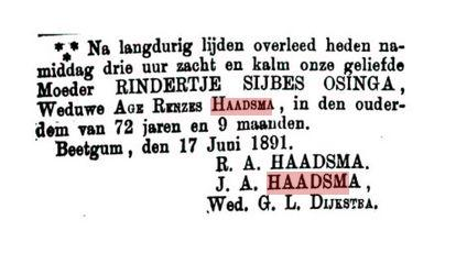 HAADSMA RINDERTJE SYBES OSINGA+