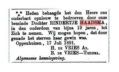 HAADSMA RINDERTJE SYBES+