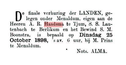 HAADSMA R.A. TSJOM