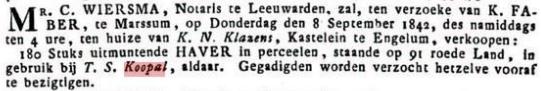 KOOPAL TYMEN S. 1842