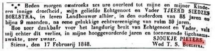 BOELSTRA ADV TJEERD SIEDSES 1848