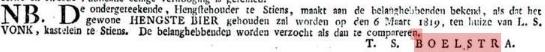 BOELSTRA Hengstebier T.S. 1819