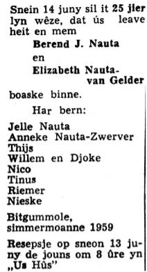 Berend Jelles Nauta en Elisabeth van Gelder advertinsje