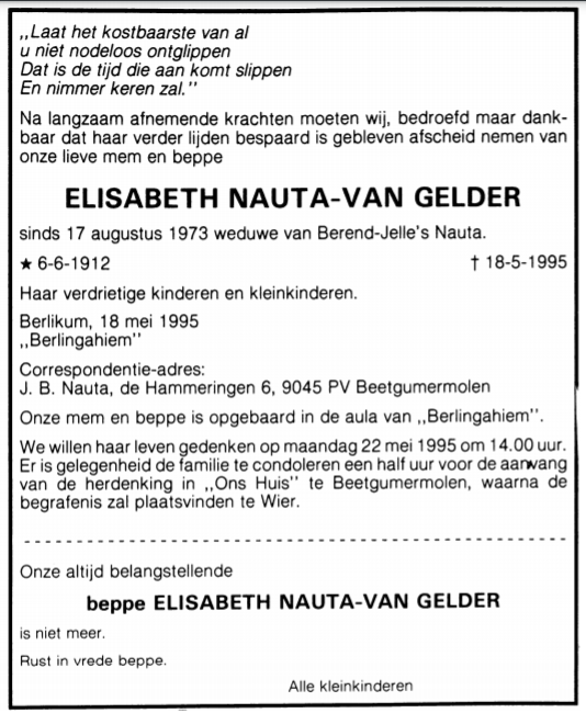 Elisabeth Nauta-van Gelder, rouadvertinsje