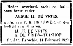 Rouadvertinsje AEsge Ypes de Vries 1929