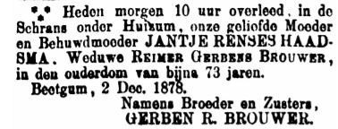 Jantje Rinses Haadsma obituary