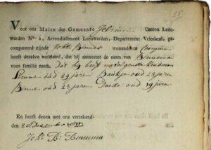 jOHANNES bINNES bINNEMA - NAMME-OANNIMG 1811