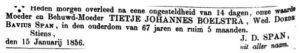 Tytje Johannes Boelstra rouadvertinsje 18-1-1856