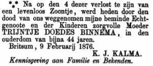 Trijntje Doedes Binnema rouadvertinsje 1876