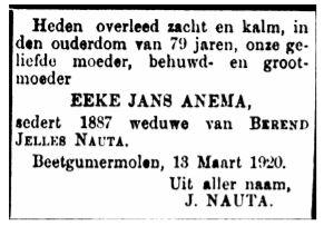 Eeke Jans Anema rouadvertinsje 1920