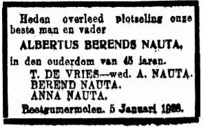 Albertus Berends Nauta rouadvertinsje 1928