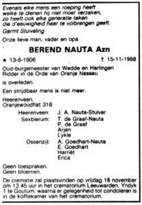 Berend Nauta Azn rouadvertinsje 1988