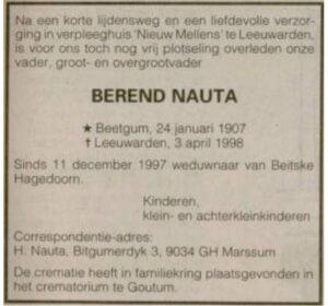 Berend Ypes Nauta rouadvertinsje 1998