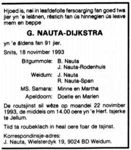 Grietje Jans Dijkstra rouadvertinsje 1993