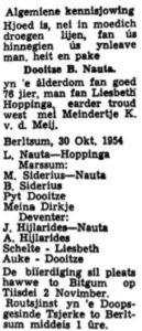 Dooitze Berends Nauta rouadvertinsje 1957