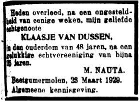 Klaasje van Dussen rou-advertinsje 1929