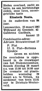 Elisabeth Dooitzes Nauta rouadvertinsje 1961