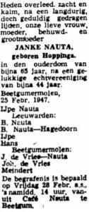 Janke Symens Hopping rouadvertinsje 1947