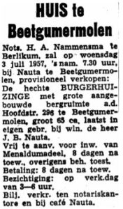 Jan Berends Nauta advertinsje ferkeap hûs 1957