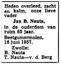 Jan Berends Nauta rouadvertinsje 1957