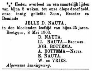 Jelle Dooitzes Nauta - rouadvertinsje 1903