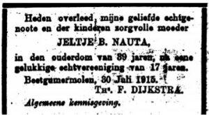 Jeltje Berends Nauta rouadvertinsje 1915