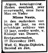 Minne Berends Nauta rouadvertinsje 1945