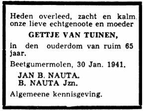 Gettje van Tuinen rouadvertinsje 1941