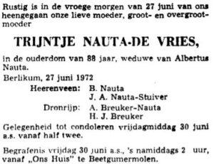 Trijntje Lumes de Vries roadvertinsje 1972