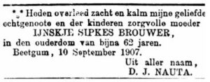 Ynskje Sipkes Brouwer rou-advertinsje