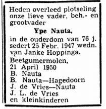 Ype Berends Nauta rouadvertinsje 1950